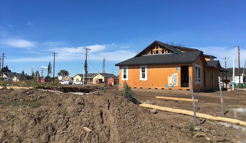 The Larkfield Estates neighborhood has dozens of new homes popping up a year post-fire.