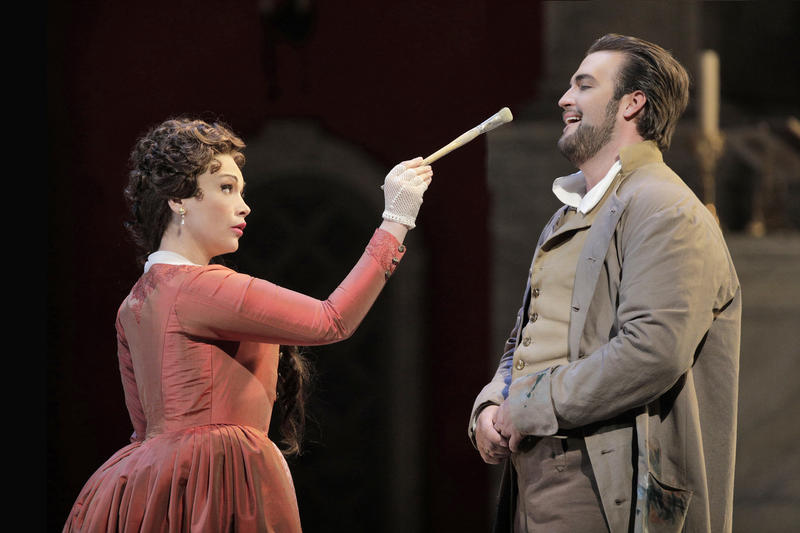 Carmen Giannattasio as Tosca and Brian Jagde as Cavaradossi in the new production of Puccini's 'Tosca' at San Francisco Opera...