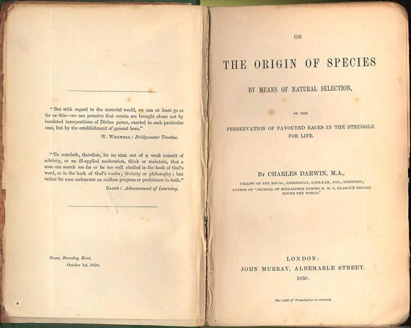 "1859 - Darwin's ""Origin of Species"" (highlighted story below)"