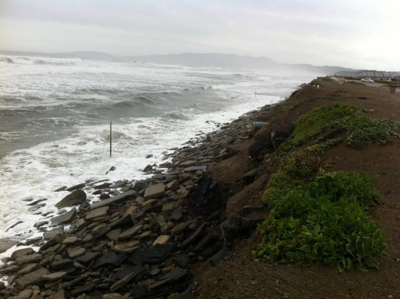 The view from the Sloat Boulevard Parking Lot after a large storm. Photo taken March 17th, 2012