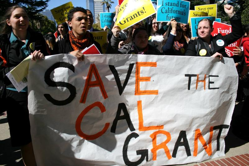 College students from private and independent universities rally outside the Capitol building on March 7 to protest against cuts to the state financial aid program, CalGrant.