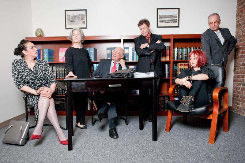 Above: L-R: Catherine Castellanos, Helen Shumaker, Louis Parnell, John Flanagan, Karina Wolfe, and Lol Levy ponder the alternatives in AJ Baker's THE RIGHT THING