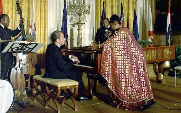 1974 Pearl Bailey w/ President Nixon tinkling the ivories (see Emperor Nero 0064 C.E.)