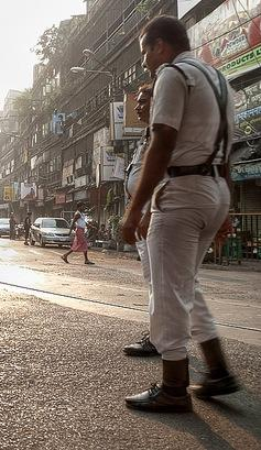 Kolkata police in pants that are too tight?