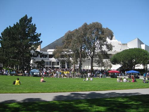 Students sitting on the quad at San Francisco State University.