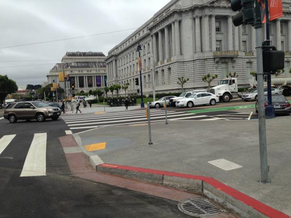 An upgraded intersection at Grove and Polk.