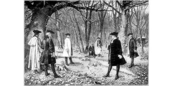 the duel between alexander hamilton and aaron burr On july 11, 1804, alexander hamilton and aaron burr met on the dueling grounds at weehawken, new jersey, to fight the final skirmish of a long-lived political and personal battle when the duel was over, hamilton would be mortally wounded, and burr would be wanted for murder.