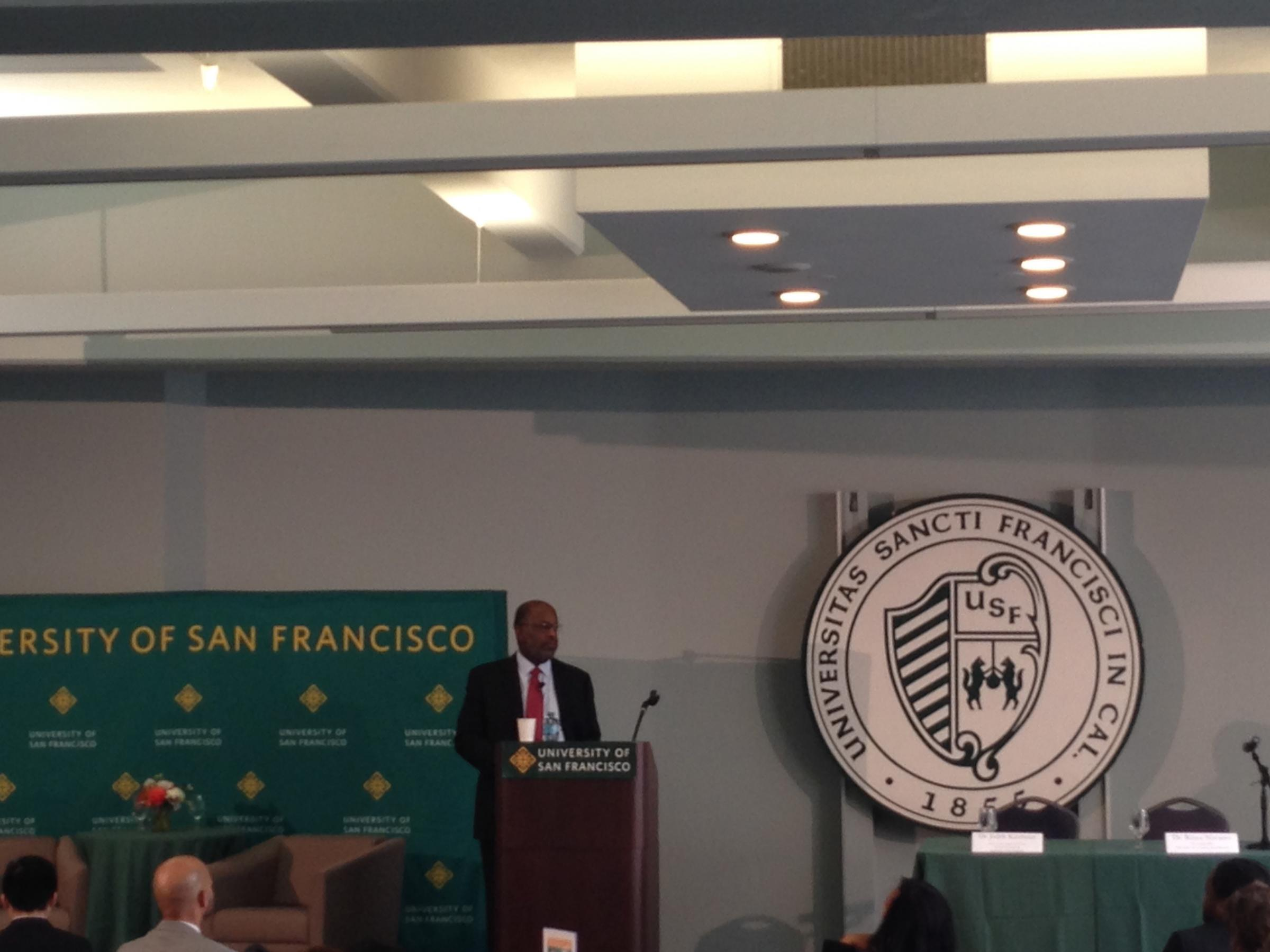 Bernard Tyson CEO Of Kaiser Permanente Addresses A Crowd At SF Mayor Ed Lees Mayoral Community Stakeholder Forum Diversity Innovation And Jobs The