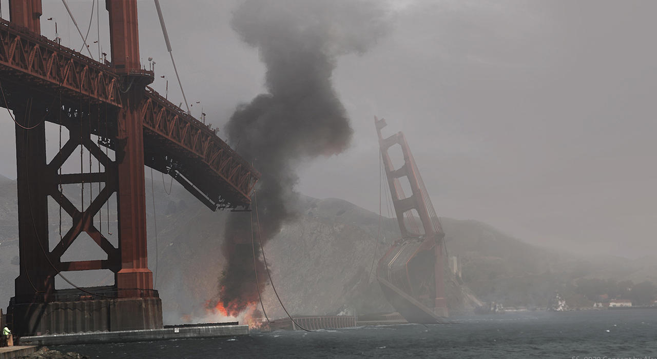 the golden gate bridge after a kaiju attack from pacific rim