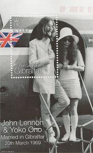 Image result for 1999 - In Gibraltar, a set of postage stamps was released commemorating what would have been the 30th wedding anniversary of Yoko Ono and John Lennon.