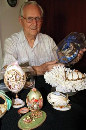 Ozark Artist Royston Morris and his eggs.  Morris will be in Jonesboro displaying his eggs Saturday from ten to two.