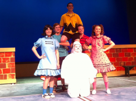 The cast includes Clint Stevens, a junior theatre major from Huntsville, as Charlie Brown; Jacob George, a sophomore theatre major from El Dorado, as Schroeder; Heidi Sohl, a freshman theatre major from Benton, as Lucy; Sarah Ring, a junior theatre major from Cabot, as Sally; Dru Ergle, a junior theatre major from Jonesboro, as Snoopy; and Drew Brown, a freshman theatre major from Jonesboro, as Linus.