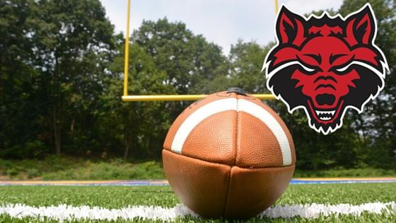 Football picture courtesy of Pixabay.  Red Wolves logo courtesy of Arkansas State University.