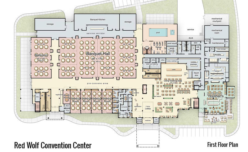 A diagram of the first floor of the Red Wolf Convention Center on Arkansas State University's Jonesboro campus.