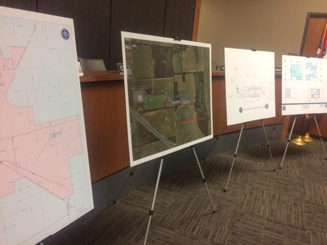 Plans of the Jonesboro Shooting Sports Complex displayed at the Municipal Center.