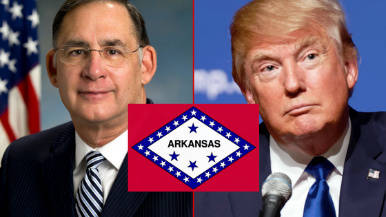 The latest Talk Business and Politics-Hendrix College poll shows a majority of Arkansans supporting GOP Presidential Nominee Donald Trump (pictured right, credit Wikipedia) and incumbent U.S. Senator John Boozman (R-Rogers).