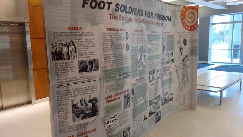"This is the oposite side of the ""Foot Soldiers for Freedom"" exhibit that was at Arkansas State University.  The Arkansas Humanities Council and various scholars from around the state help to tell the little known stories of Arkansas' role in Civil Rights."