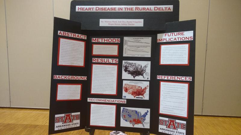 This poster was created by students to show how heart disease affects rurual Arkansans living in the Delta.  This was one of many posters made for the 4th ASU Health Disparities Conference.