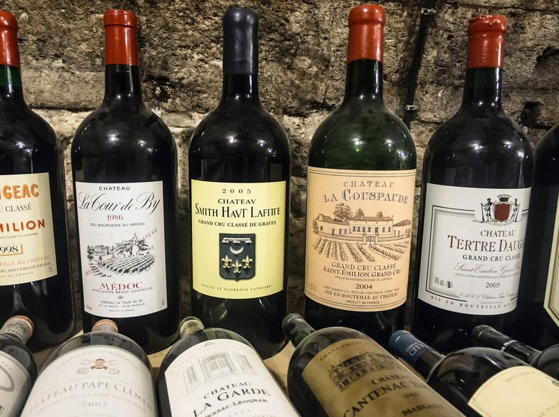 Stock photo of wine bottles
