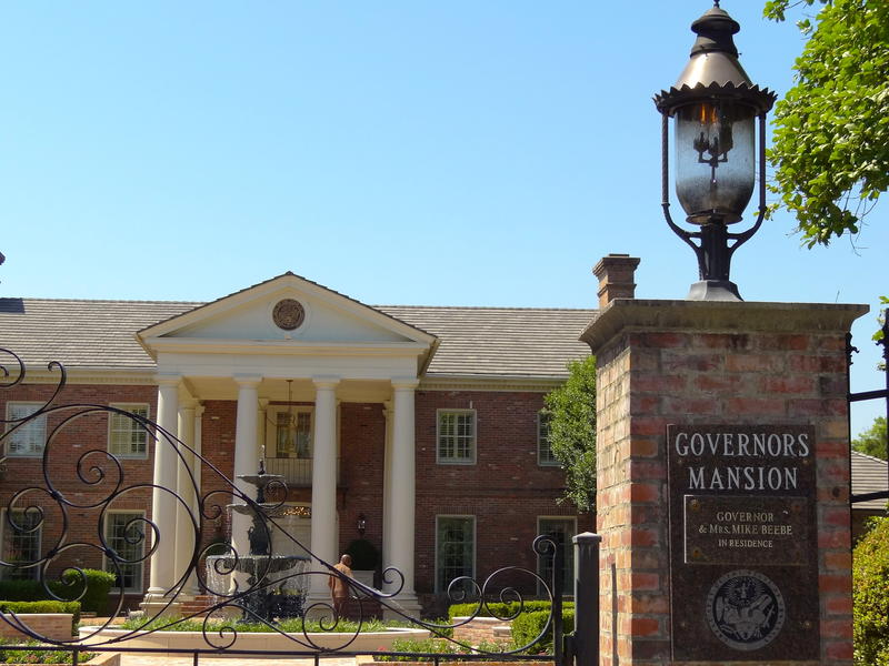 Outside of the gates of the Arkansas Governor's mansion in Little Rock.