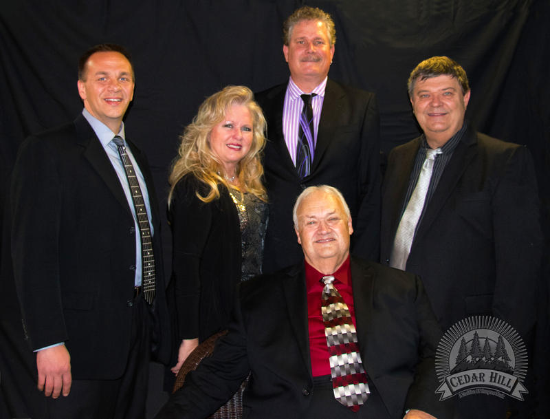 Cedar Hill (left to right) — Dan Stokely, Patti Lafleur, Pete Brown, Frank Ray (seated) and Jim Bunch.