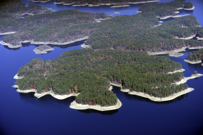Aerial View of Lake Ouachita, AR, looking towards the West.