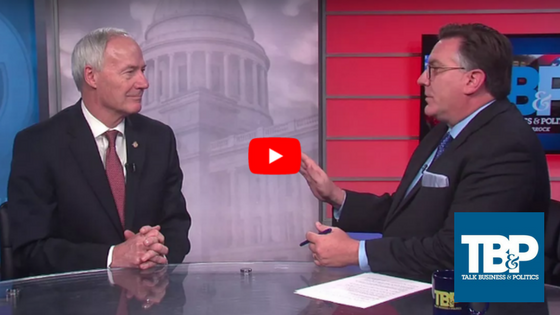 Arkansas Governor Asa Hutchinson with Roby Brock of Talk Business and Politics