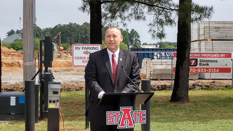 Dr. Kelly Damphousse, ASUJ Chancellor, giving remarks at the Red Wolf Convention Center groundbreaking ceremony.