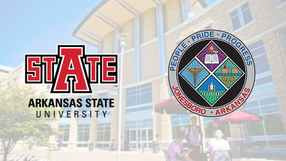 A-State logo courtesy of Arkansas State University, City of Jonesboro seal courtesy of the City of Jonesboro