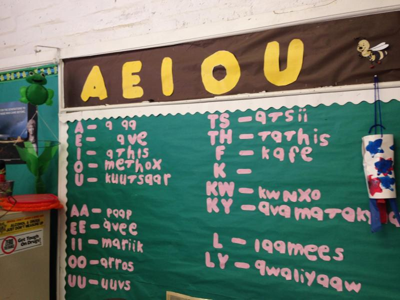 The Quechan Language Preservation Program displays the Quechan alphabet.