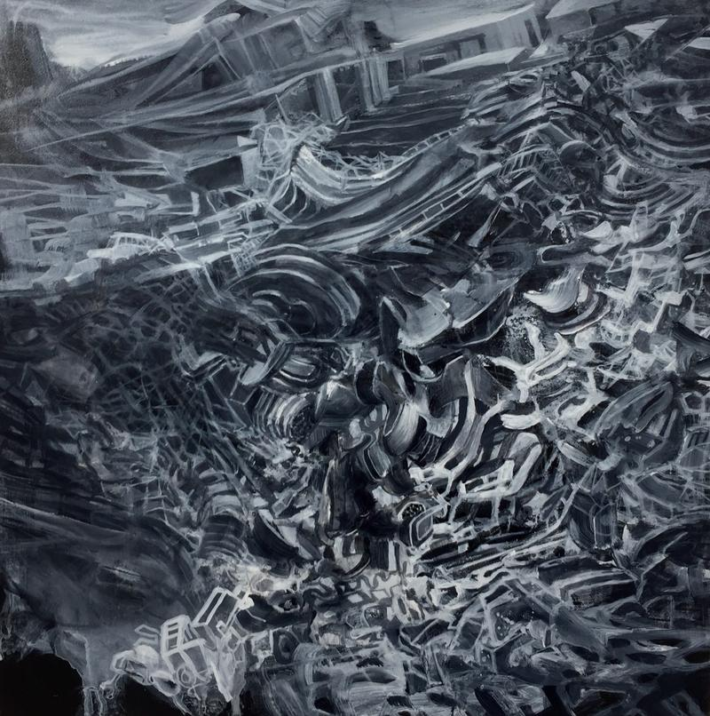Landslide by Matthias Düwel, acrylic on panel
