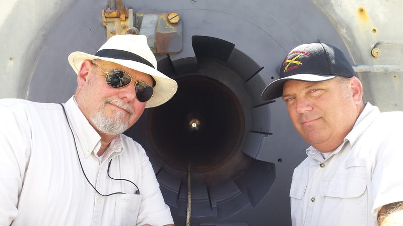Left: Bill Heidner, Center: Barrel of HARP Gun, Right: Wayne Schilders