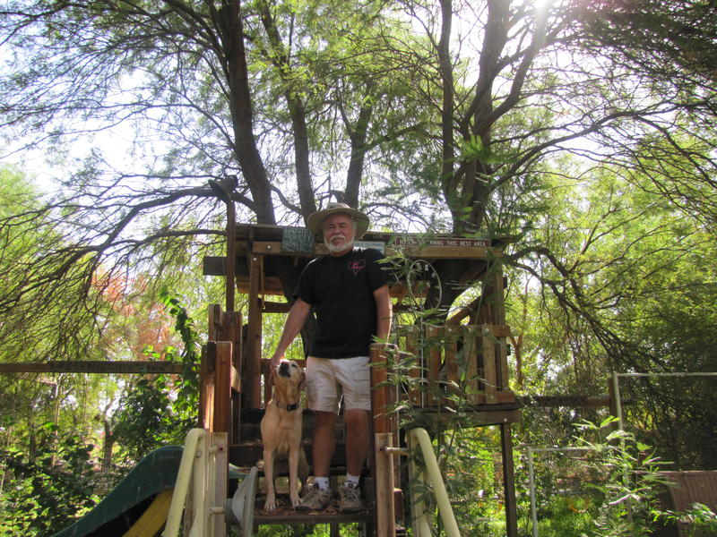 Jerry Jackson and his dog stand in front of the treehouse Jackson built for his grandkids on his property, Los Arboles