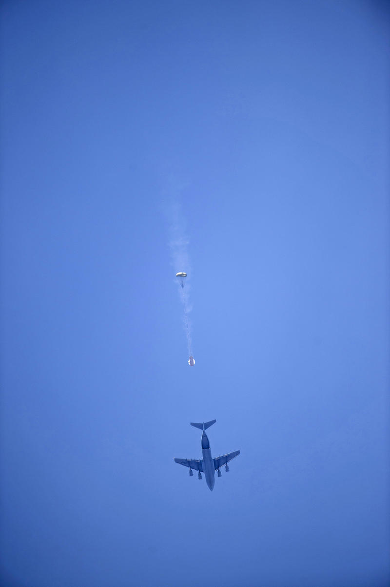 C-17 dropping Orion Test Capsule