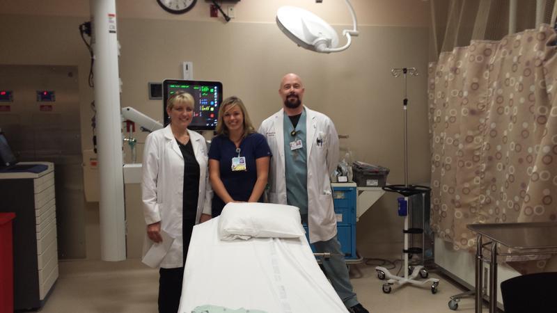 Left to Right: Dr. Sarah Sullivan, BSN Micaela Prevatke, & Dr. Greg Baker in a YRMC Trauma Bay