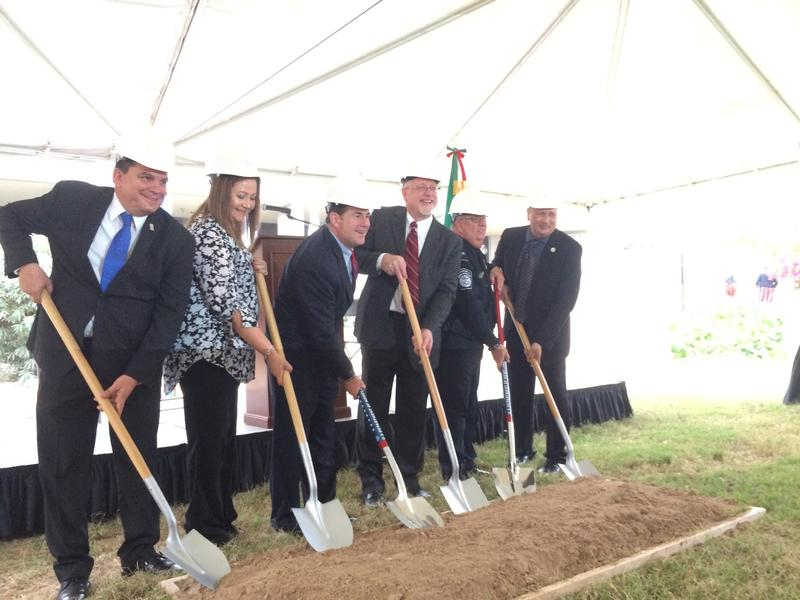 GSA and CBP host groundbreaking ceremony for new pedestrian processing facilty at the San Luis I Land Port of Entry. Pictured left to right: San Luis Rio Colorado mayor Jose Enrique Reina Lizarraga, Martha Garcia, District aide for the office of Congressm
