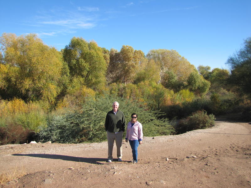 Charles Flynn (Right) and Vianey Avila (Left) at Yuma West Wetlands