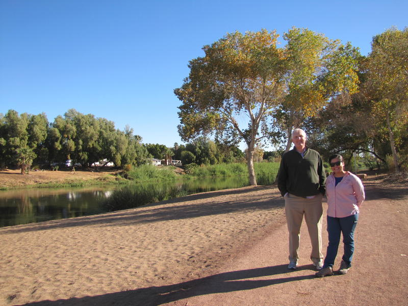 Charles Flynn (Left) and Vianey Avila (Right) next to the Colorado River at Yuma West Wetlands