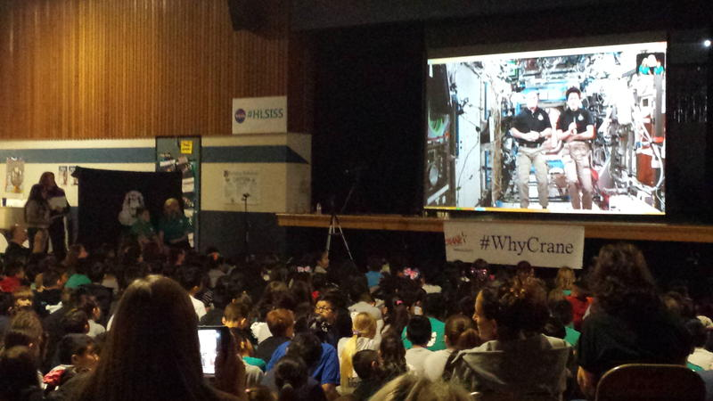Students watch the Downlink from the H. L. Suverkrup Elementary School cafeteria