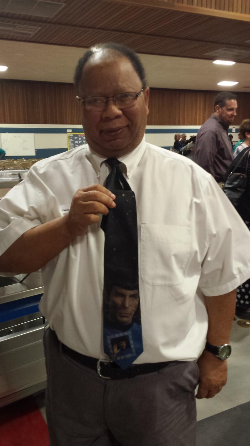 Michael Shelton, Yuma City Council, showing off his Spock tie at the Downlink