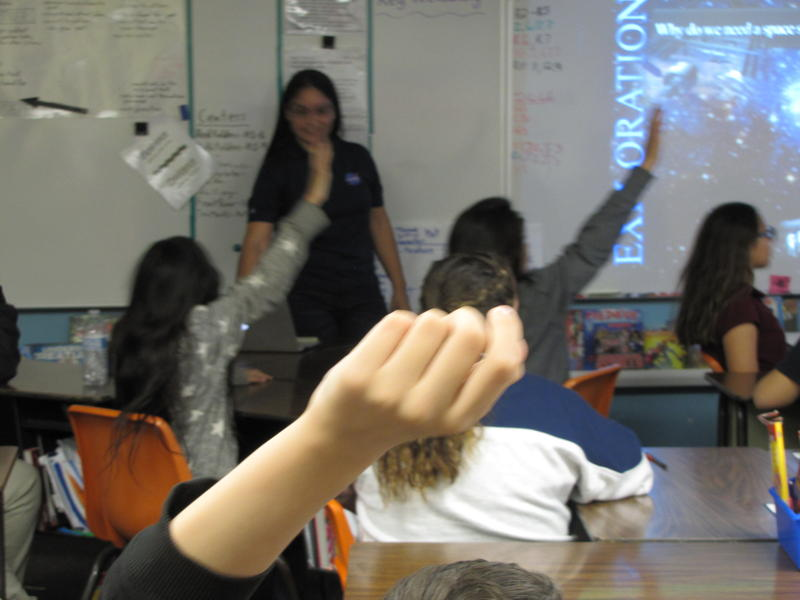 Rosa Obregon and Ian Anchondo present to a sixth-grade class at Suverkrup Elementary School
