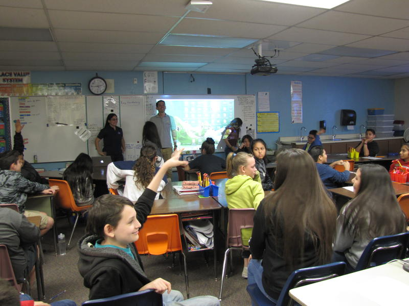 Rosa Obregon and Ian Anchondo present to a sixth-grade class at Suverkrup Elementary School