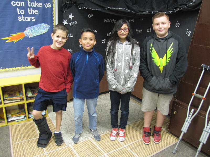 Left to Right: fourth-graders Nathanial Sorenson and Yancarlo Tejeda, and sixth-graders Maria Galvan and Kaiden Montoya
