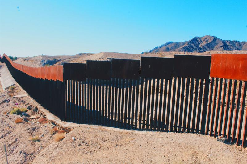 The U.S. Mexico border near Los Algodones, Baja California, Mexico.