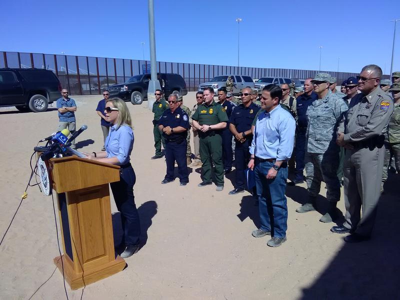U.S. Homeland Security Secretary Kirstjen Nielsen speaking on the U.S./Mexico border near Yuma, Arizona