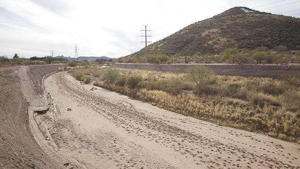 The Santa Cruz River is dry near A Mountain but could see flows when treated wastewater is released into the river channel in coming years