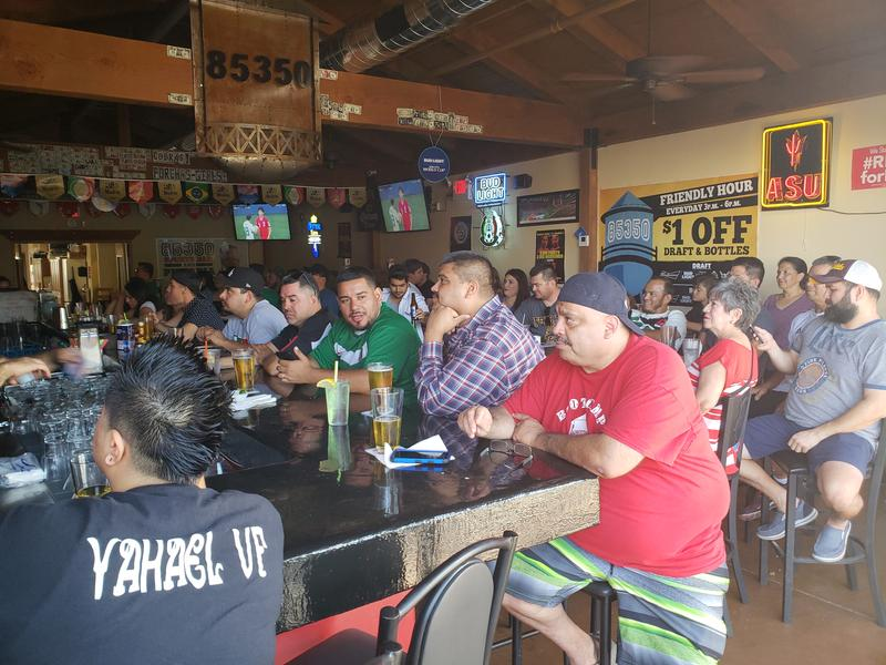 Fans watch Mexcio play South Korea at 85350 Bar and Pizzaria in Somerton, Saturday morning, June 23, 2018