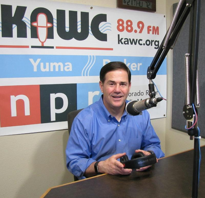 Governor Doug Ducey visits KAWC as he launches his bid for a second term.