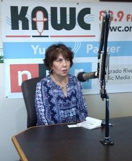 Charlene Fernandez visits the KAWC studio on Monday, July 16, 2018.