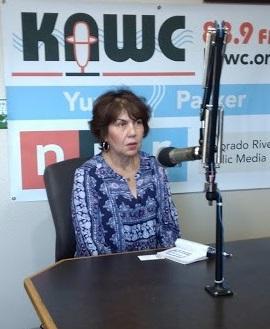 State representative Charlene Fernandez visits the KAWC News studio on Monday, July 16, 2018.